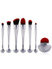 Ensemble De Brosses De Maquillage 7Pcs Ocean Shell Hadle - Argent