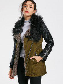 Color Block Faux Fur Collar Long Sleeve Coat - Army Green L