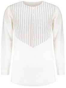 جانبي، سليت، مخطط، لونغلين، قميص - أبيض 2xl
