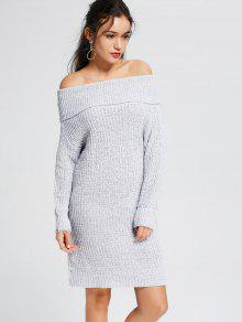 Light Gray Off The Shoulder Sweater Dress LIGHT GRAY: Sweater ...
