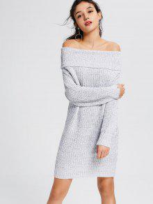 Light Grey Off The Shoulder Sweater Dress - Gris Clair