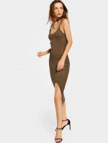 Open Back Slit Knitted Cami Dress - Brown S