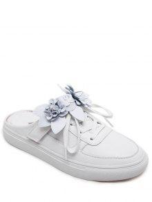 حذاء مسطح من الجلد المزيف مزين بزهور ذو رباط - أبيض 41