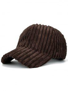 Winter Warm Faux Fur Striped Baseball Hat - Coffee