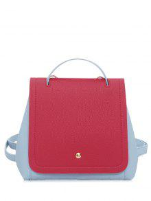 Color Block Textured Leather Backpack - Red