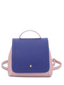 Color Block Textured Leather Backpack - Blue