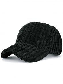 Winter Warm Faux Fur Striped Baseball Hat - Black