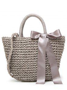 Ribbon Bowknot  Straw Handbag - Gray