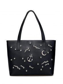 حقيبة الكتف مطرزة بجلد اصطناعي - أسود
