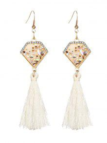 Faux Gem Tassel Geometric Hook Earrings - White