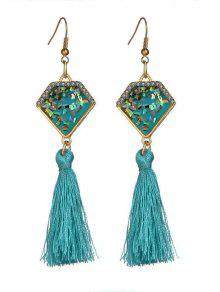 Faux Gem Tassel Geometric Hook Earrings - Sky Blue