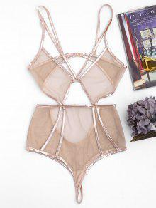 Metal Sheer Mesh Cut Out Teddies - Yellowish Pink M