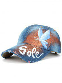 Hand Painted Butterfly Letters Printed Baseball Hat - Light Blue