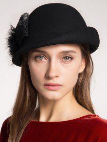 Pompon Bowknot Embellished Curly Brim Pillbox Hat - Black