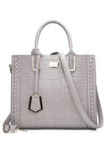 Weave Textured Leather Tote Bag - Gray