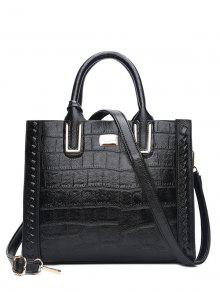 Weave Textured Leather Tote Bag - Black