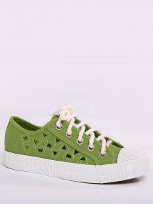 Canvas Breathabe Hollow Out Athletic Shoes - Green 38