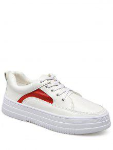 PU Leather Colour Block Athletic Shoes - Red With White 39