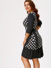 polka dot print plus size wrap dress white and black: plus size