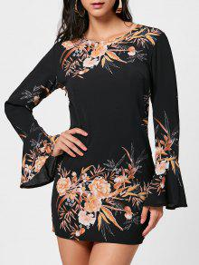 فستان طباعة الأزهارتوهج الأكمام شيفون مستقيم - أسود S