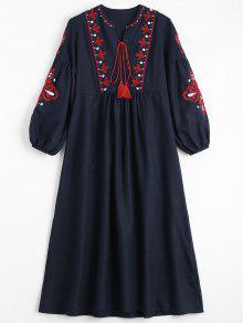 فستان نفخة الأكمام طباعة الأزهار شرابة - الأرجواني الأزرق