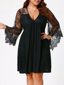 فستان الحجم الكبير دانتيل شير اللأكمام امبراطورية الخصر - أسود Xl