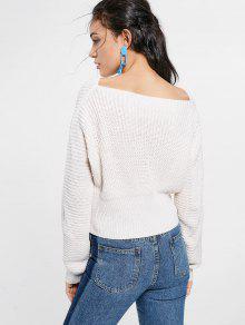 Resultado de imagem para Boat Neck Lace Up Sweater - White