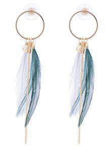Link Chain Circle Natural Feather Drop Earrings