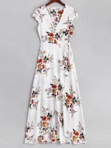 فستان ماكسي لف غير متماثل طباعة الازهار - أبيض L