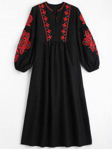 فستان نفخة الأكمام طباعة الأزهار شرابة - أسود