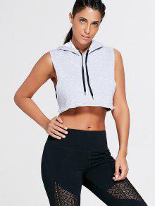 e320a7aaf56fb 22% OFF  2019 Sports Crop Hooded Tank Top In GRAY