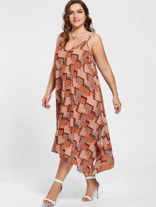 244fd479683 33% OFF  2019 Plus Size Spaghetti Strap Geometric Print Handkerchief ...