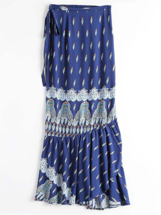 Printed Beach Wrap Maxi Skirt - Azul Tamanho único