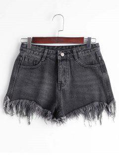 High Waisted Cutoffs Denim Shorts - Black L