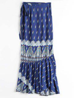 Printed Beach Wrap Maxi Skirt - Blue