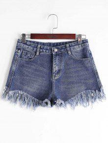High Waisted Cutoffs Denim Shorts - Denim Blue L