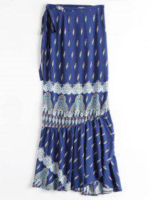 Printed Beach Wrap Maxi Skirt - Blue