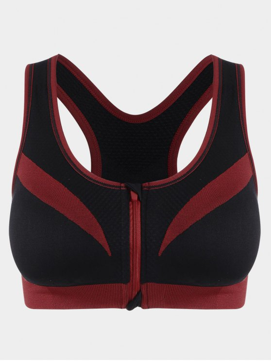 sale Zip Up Two Tone Sports Bra - RED WITH BLACK S