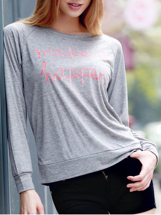 Lettre Imprimer col rond manches longues Sweatshirt - Gris XS