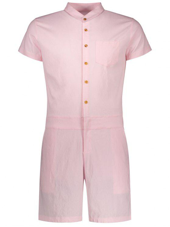 Short Sleeve Single Breasted Romper - Rosa XL