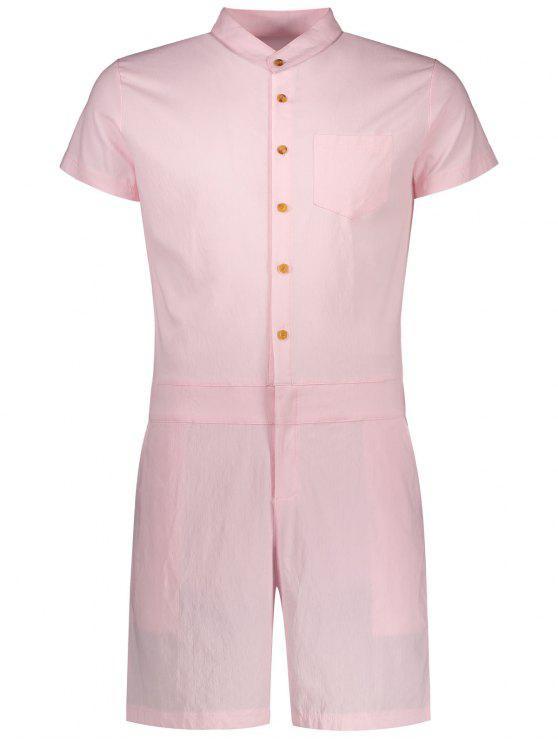 Kurzarm Spielanzug mit einreihigen Knöpfe - Pink XL