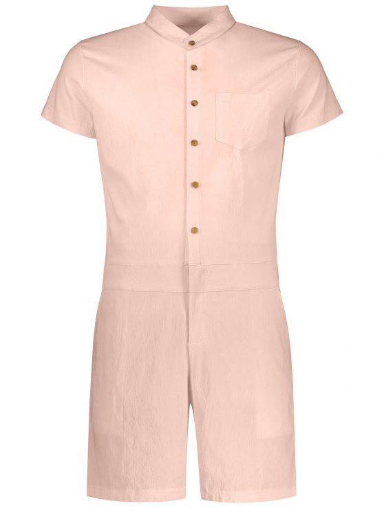ladies Short Sleeve Single Breasted Romper - APRICOT XL