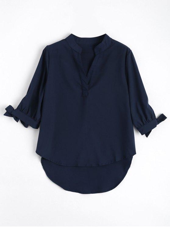 Arco manga empatada alta Low blusa - Azul Purpúreo M