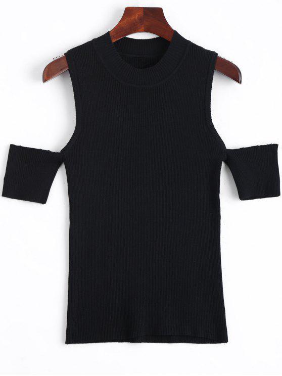 Maglia con spalla fredda a maglia - Nero M
