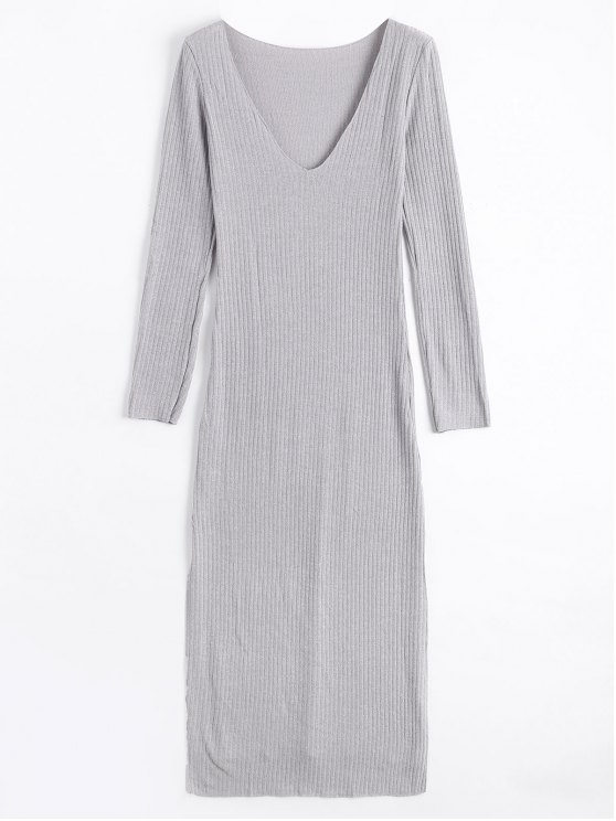 Long Sleeve Ribbed Slit Knitting Dress - Cinza S
