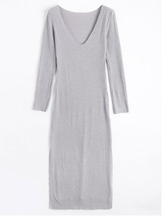 Long Sleeve Ribbed Slit Knitting Dress - Cinza S