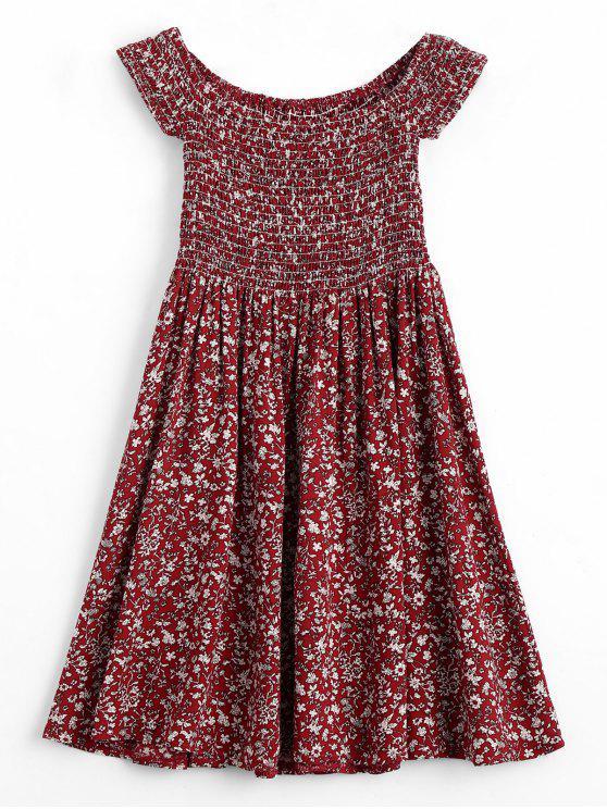 Mini Robe Smockée Florale à Épaules Dénudées - Rouge vineux  M