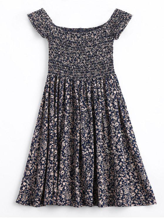 best Tiny Floral Smocked Off Shoulder Mini Dress - PURPLISH BLUE S