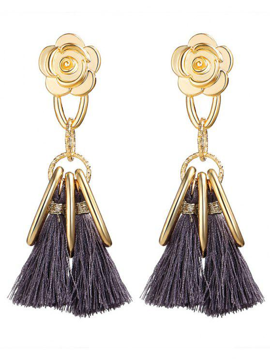 latest Alloy Flower Circle Tassel Vintage Earrings - GRAY