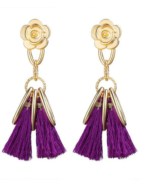 Pendientes de la vendimia de la borla del círculo de la flor de la aleación - Púrpura